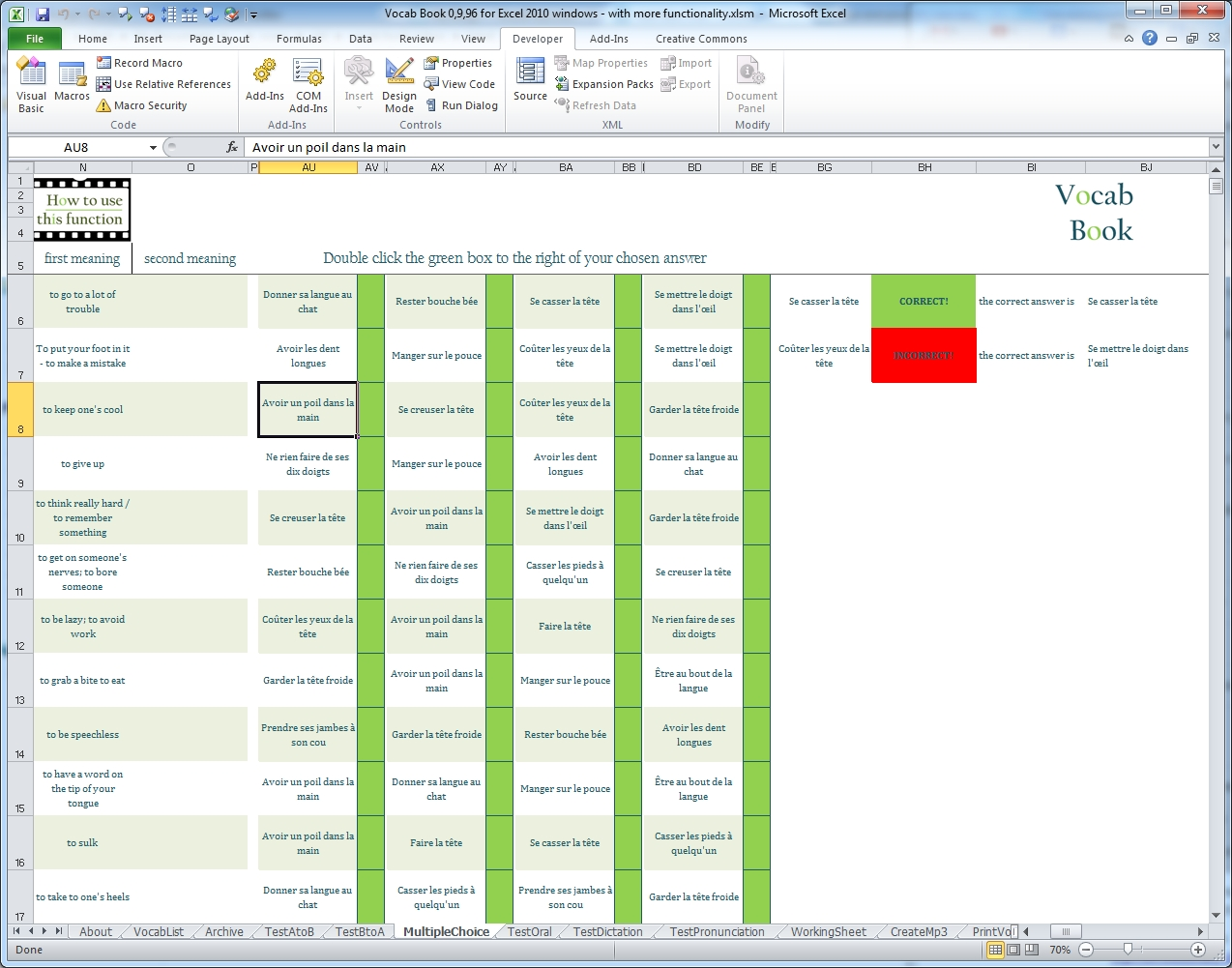 excel multiple choice test template