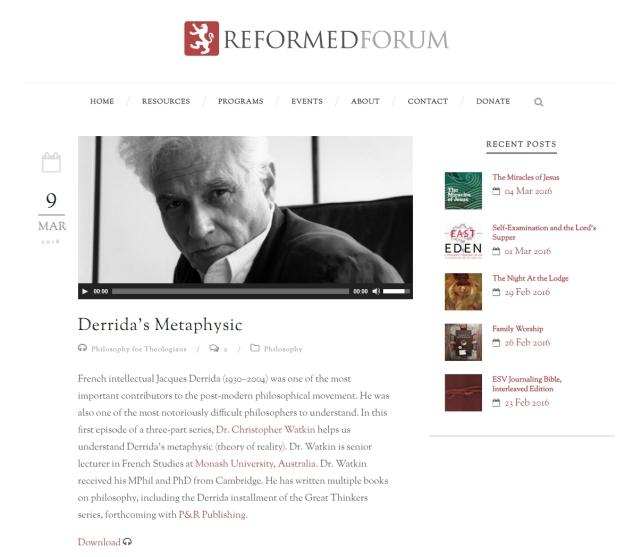 Derrida Reformed Forum podcast 1